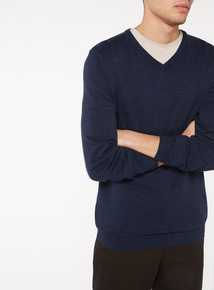 Navy V-Neck Jumper