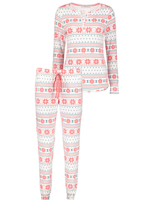 Cream Nordic Print Pyjamas