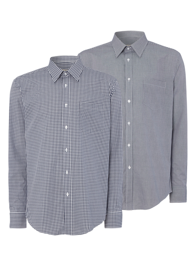 Navy Gingham Tailored Shirts 2 Pack