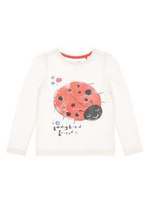 Girls White Ladybird Glitter Tee (9 months-6 years)