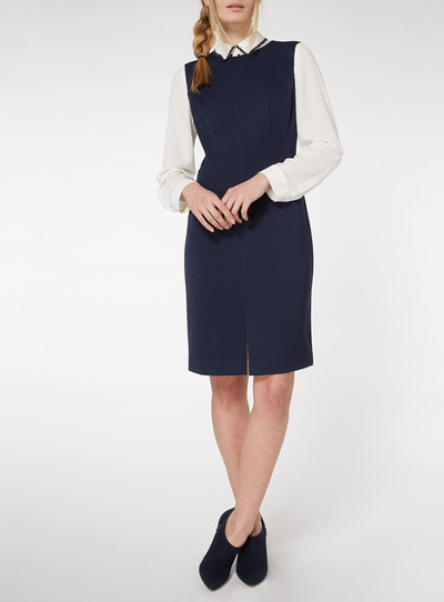 Navy Sleeveless Knee Length Pencil Dress