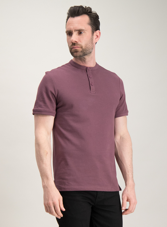 wide selection new arrival luxury aesthetic SKU:PIQUE COLLAR STAND SS GRANDAD PLUM:Plum
