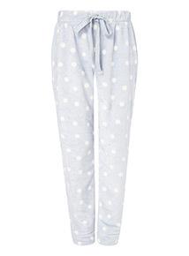 Light Blue Spot Print Fleece Pyjama Bottoms