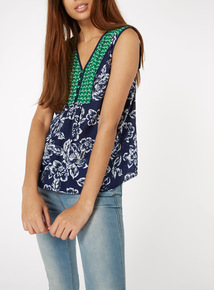 Multicoloured Sleeveless Contrast Print Shell Top