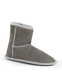 Grey Suede Boot Slippers