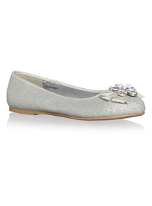 Girls Silver Party Shoe
