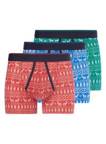 Multicoloured 3 Pack Fairisle Trunks
