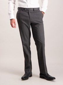 Charcoal Grey Herringbone Tailored Fit Trousers
