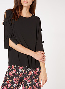 Black Bow Sleeve Top