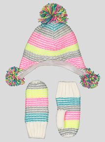 Multicoloured Pom-Pom Trapper Hat & Mittens (3-13 Years)