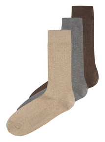 Brown Non Grip Socks 3 Pack
