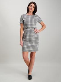 ea4be199664 Monochrome Check Tab Waist Dress