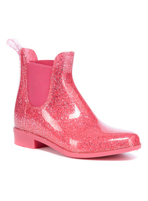 Pink Glitter Chelsea Wellies