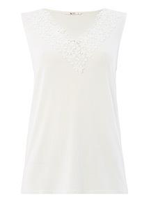 Cream Floral Lace Trim V-neck Vest