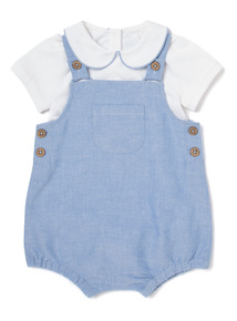 Blue Oxford Bibshort Set (Newborn-12 months)