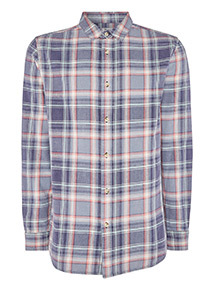 Blue Wash Effect Long Sleeve Check Shirt