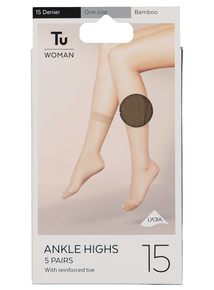 a8e150242 Bamboo Lycra Ankle High 15 Denier 5 Pack (One Size)