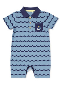 Blue Pique Collared Romper (0-24 months)