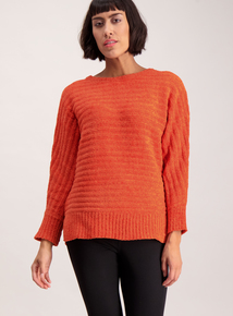 Orange Chenille Ribbed Bat Wing Jumper