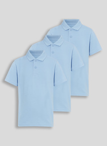 Unisex Blue Polo Shirts 3 Pack (3-12 years)