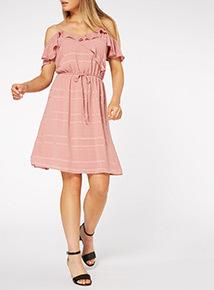 Pink Ruffle Cold Shoulder Dress