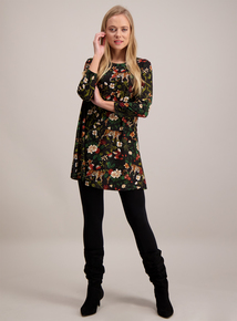 Multicoloured Tiger & Floral Print Tunic