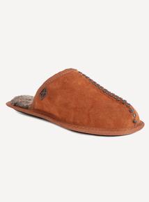 Tan Suede Faux Fur Lined Mule Slippers