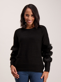 Black Faux Fur Sleeve Jumper