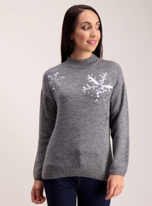 Grey Sequin Snowflake Jumper