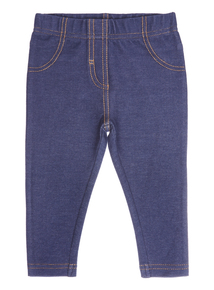 Girls Navy Denim Jeggings (0-24 months)