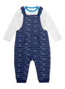Boys Navy Jersey Dungaree (0-24 months)