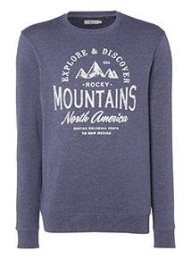 Navy 'Mountain' Slogan Sweatshirt