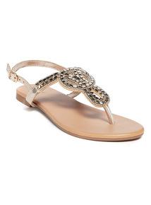 Gold Metallic Beaded Toe-Post Sandals