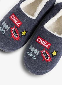6491458d9ae3 Grey Slogan Full Slippers (6 Infant - 4)