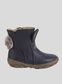 Online Exclusive Navy Bunny Face Ankle Boot (4 Infant-12 Infant)