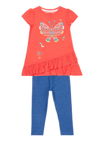 Girls Red Butterfly 2-Piece Set (9 months - 6 years)