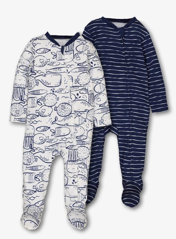 f078dda1bdcc7 Baby Blue Nautical Zip Sleepsuits 2 Pack (Newborn-24 Months)
