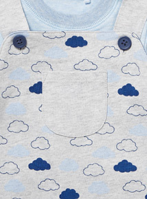 Blue Cloud Dungarees and Bodysuit Set (0-24 months)