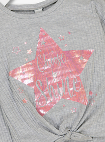 Grey 'Choose To Shine' Star Print Top (5- 14 years)