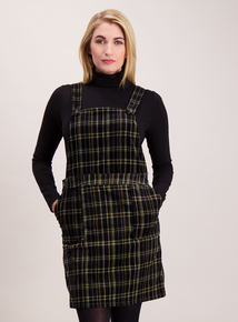 Green Check Print Pinafore Dress