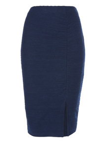 Navy Ruche Split Skirt