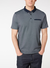 Navy Patterned Polo Shirt