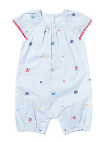 Blue Stripe Embroidered Rompersuits (0-24 months)