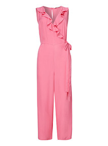 Pink Frill Wrap Jumpsuit