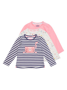 Multicoloured 3Pack Crazy Cat Tees (0-24 months)