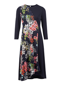 IZABEL Multi Navy Floral Print Midi Dress