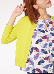 Lime Pointelle Button Cardigan