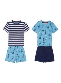 Boys Blue Pirate Pyjamas 2 Pack (1-12 years)
