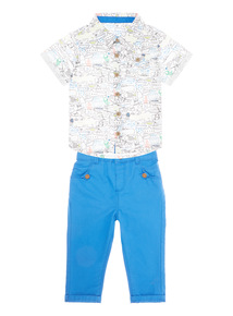 Boys White Shirt and Twill Chinos Set (0-24 months)
