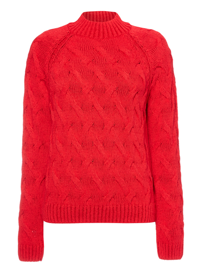 790da839ec029 Womens Red Cable Knit Jumper